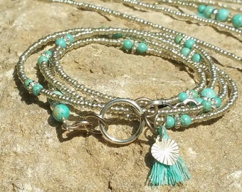 New turquoise and silver bracelet, bohemian jewelry, wrap bracelet beaded,silver beaded bracelet,turquoise cuff bracelet, beaded jewelery,
