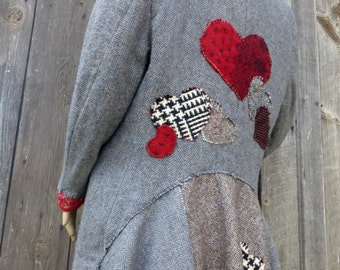 Funky Farmer's MarketTweed Riding Boho Blazer Morning Jacket Upcycled Embellished Embroidered Appliqued Hearts Womens size M