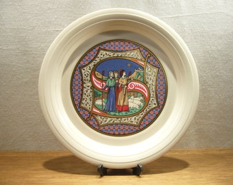 Vintage 1980s Hornsea Christmas plate - S, decorative Christmas plate, Nativity plate, illuminated manuscript plate