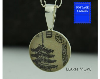 Pagoda Charm. Perfect Sterling Silver Tokyo  Pendant featuring a Vintage Japanese Postage Stamp. Perfect Tokyo Pendant for Her.