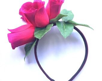 Rose decorated headband / fascinator