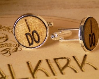 Wooden Wedding Cufflinks 'I DO'