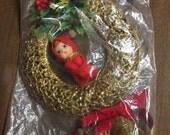Vintage Napco Elf Christmas Wreath Holiday Decor 1950's-1960's Christmas Mid Century Napco Gold Wreath Original Labels Tags