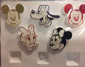 Vintage Mickey Mouse Pluto Minnie Daisy Cupcake Toppers Rings Party Favors Shiny Toys Retro Birthday Party Kids Children Collectible Disney