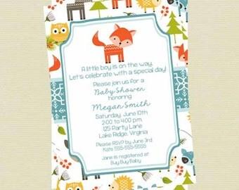 Woodland Animals Baby Shower Invitation, Baby Boy Woodland Invite, Forest Baby Shower Invitation, Printable File