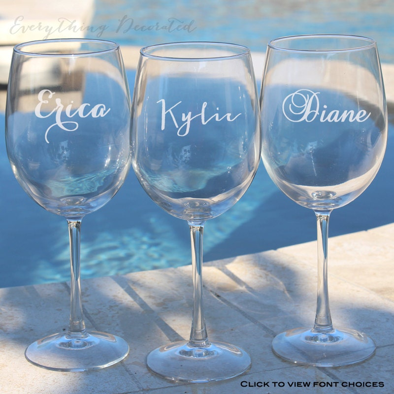 Engraved Wine Glasses For Wedding Gift : Personalized Wine Glasses Bridesmaid Gift Wedding Favor