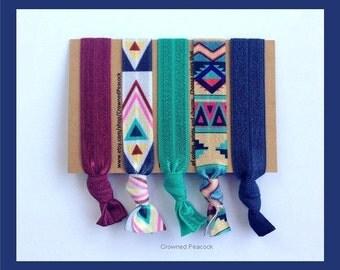 SALE 5 AZTEC HAIR Ties Graduation Christmas Gift White Elehant Tribal Prints, Yoga, hair accessory, Southwest Blues and White, Party Favor,