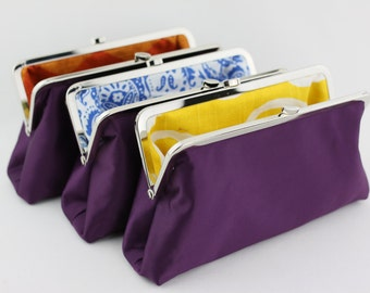 Clutches for Bridesmaid in Solid Purple / Wedding Clutches / Purple Bridesmaid Clutch with Various Linings - Set of 4