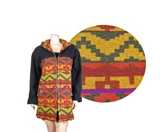 Small Navajo Hooded Wool Coat // UNION MADE Multicolor Aztec Coat // E44