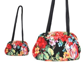 Mini Floral Print Canvas Clam Bag // Floral Print Shoulder Bag // H173