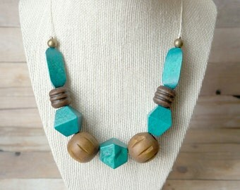 Wooden Teal Block Necklace