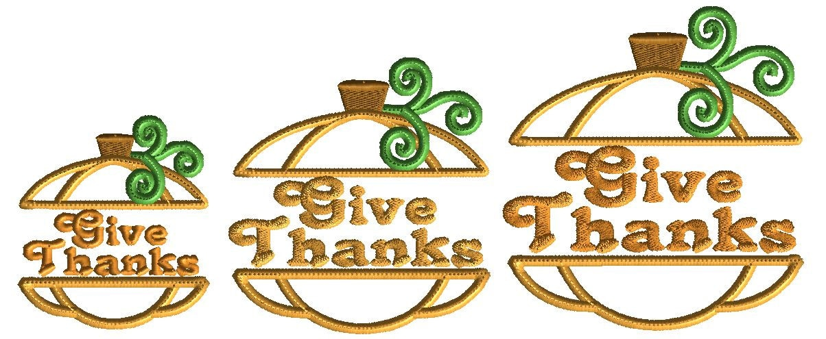 Give Thanks Pumpkin Embroidery Design