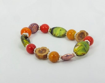 Czech Glass Elastic Band Beaded Bracelet, Golden Harvest, Classy, Chunky, Greens, Oranges, Browns and Golds