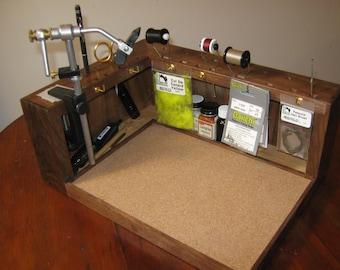 Wooden Fly walnut fly tying bench - prototype