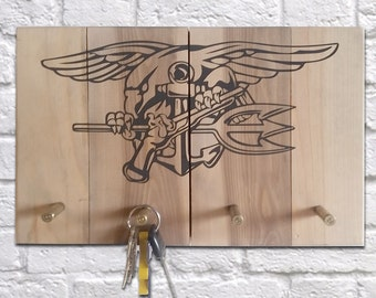 Navy Seal Emblem Key Rack with Bullet Hooks on dark walnut finish