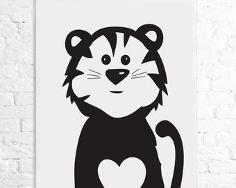 INSTANT DOWNLOAD - nursery art, cartoon, tiger, art print, wall art, black and white, heart 8x10
