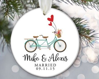 Just Married Tandem bicycle Personalized Christmas Ornament Just Engaged Tandem Bike Bridal Shower Gift Custom Wedding Gift OR440