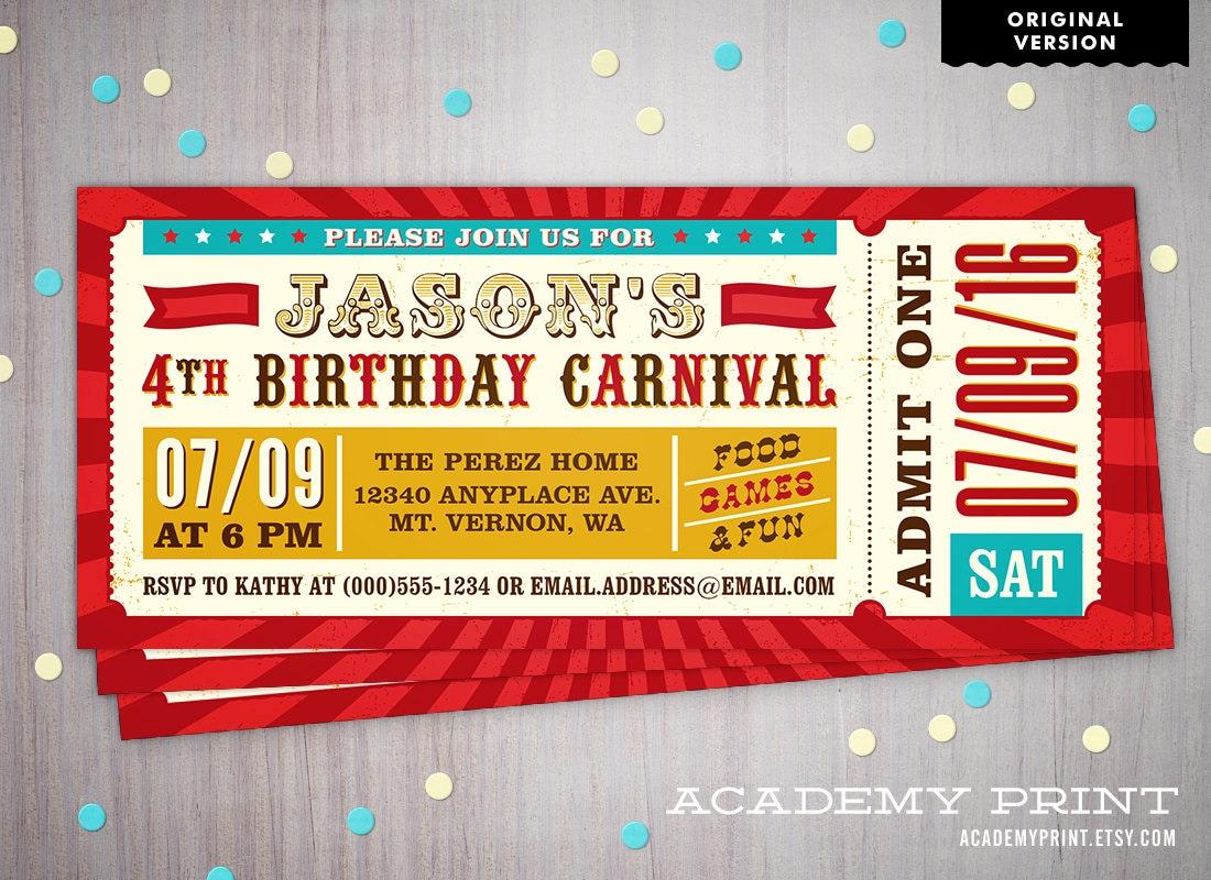 printable children 39 s birthday carnival ticket invitation. Black Bedroom Furniture Sets. Home Design Ideas