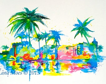 Neon Art Deco Miami Original Watercolor Painting  - Modern Home Decor - Abstract  Wanderlust Watercolors by Lana Moes