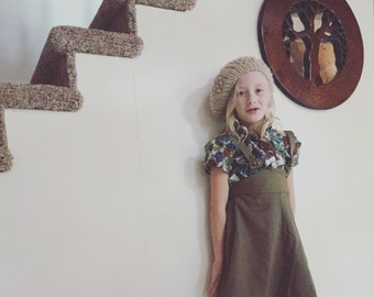 Army Green Skirt Overalls/Vintage/70s/