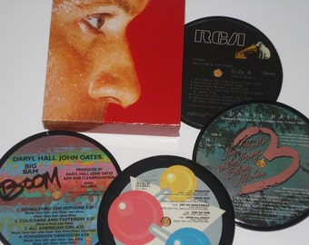 Hall & Oats Coasters, vinyl record label coaster set