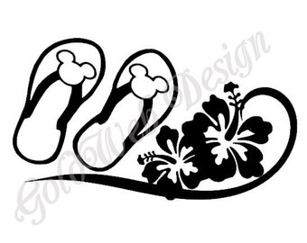 Mickey Flip Flops and hibiscus Inspired Car Decal