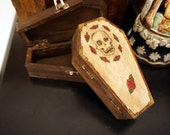 Skull and Rose Styled Small Coffin Box for your Ghoulish needs