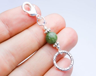 Jade Stone Keychain. Jade Genuine Stone Charm. Custom Jade Keychain. SCC647