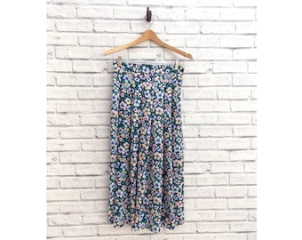Flower Child Vintage Skirt | Long Pleated Summer Skirt