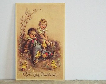 EASTER POSTCARD - boy and girl, easter eggs, easter post card, easter chick, flowers, paper emhemera,paper collage, postcards, Easter cards