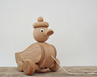 WOODEN kids toy - wooden duck, vintage wooden pull toys, natural wood, wooden animal, retro nursery decoration