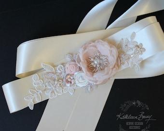 R750 Wedding dress sash belt - floral with lace - Blush pink - soft pink