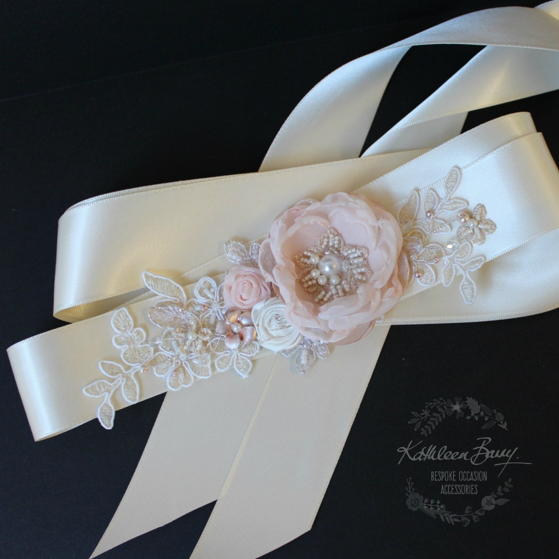 Wedding dress sash Bridal belt floral by KathleenBarryJewelry