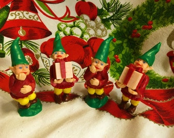 Vintage Christmas Elf Lot of 4 Gnome