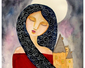Whimsical Art, Folk Art Painting, Whimsical Woman Portrait, Castle Art Print