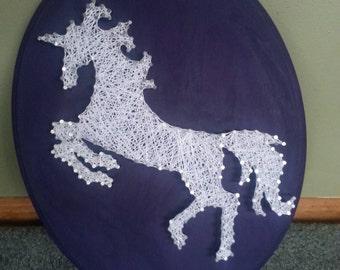 "11x14"" White Unicorn String Art, Made to Order"