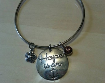 Hope is an Anchor Silver Bangle Bracelet