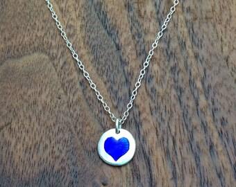 Fine Silver Cobalt Enamel Heart Charm Necklace
