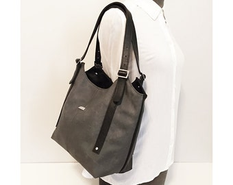Medium tote bag in Slate and Black