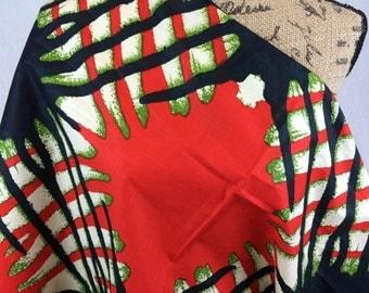 African Wax Print Fabric--Ankara Fabric--Orange, Black & Olive Green Ink Blots--African Quilt Fabric--African Print Fabric by the Half  Yard