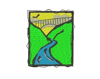 bridge and river embroidery design