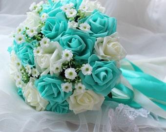 Turquoise Green White Wedding Bouquet, Turquoise Flowers Bridal Bouquet,  Wedding Centerpieces, Decorations,Silk Ribbon Fake Flower Bouquets