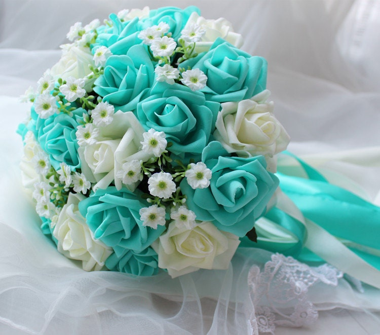 turquoise wedding bouquet turquoise flowers bridal bouquet. Black Bedroom Furniture Sets. Home Design Ideas