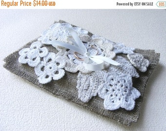 SALE 50% Ring bearer pillow, wedding ring pillow, burlap ring pillow, crochet ring pillow, with flowers,  Ready for shipping