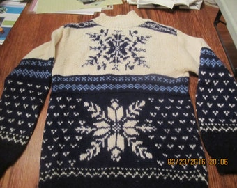 Gorgeous Blue and White Norwegian Style Wool Sweater Snowflake Design
