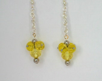 Yellow Earrings, Silver Earrings, Chain Earrings, Chandelier Earrings, Crystal Earrings, Mothers Day, Easter, Gift Earrings, Yellow Crystals