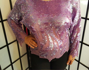 Top, Designer, Vintage Oleg Cassini Lilac Sequin Blouse