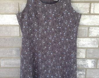 90s grey blue flower floral grunge mini dress