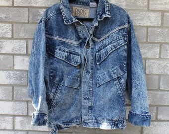 80s 90s acid wash native american paris denim jumper jacket