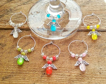 Angel wine charms, set of 6 charms, hostess gift, angel charms, colourful wine charms, barware, glass charms, wedding favors, drinking